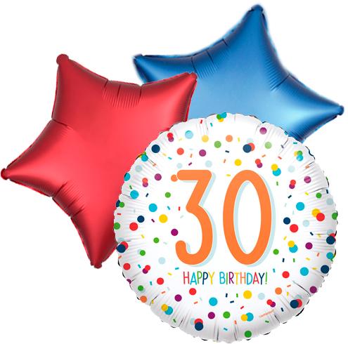 Ballonboeket confetti 30ste verjaardag