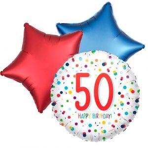 Ballonboeket confetti 50ste verjaardag