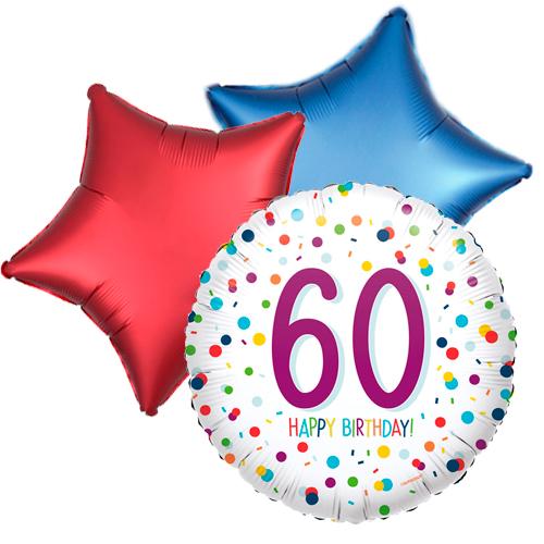 Ballonboeket confetti 60ste verjaardag