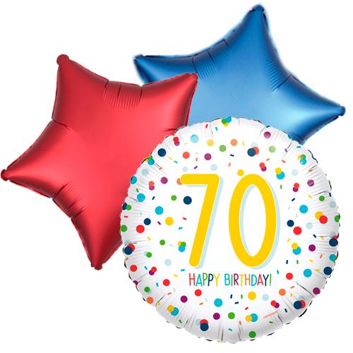Ballonboeket confetti 70ste verjaardag