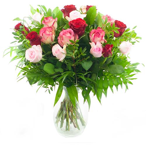 Boeket rode - roze rozen