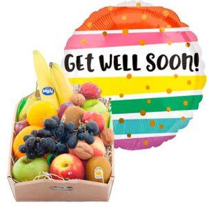 Fruitkistje met een get well heliumballon
