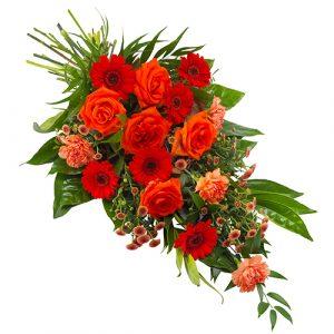Rouwboeket oranje rood