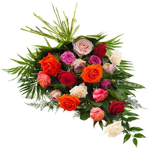 Rouwboeket van gemengde rozen