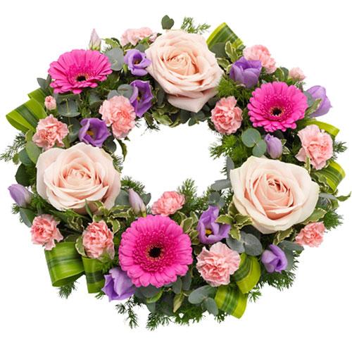 Rouwkrans Ajour roze lila