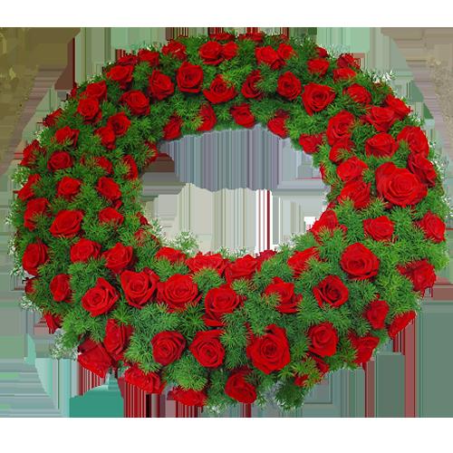 Rouwkrans rode rozen
